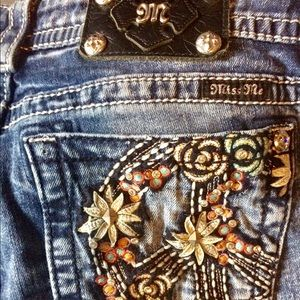 Miss Me Rhinestone Peace Sign Jeans